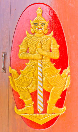 Wooden door decoration with thai art style