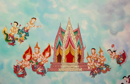 Colorful of thai art in temple wall painting