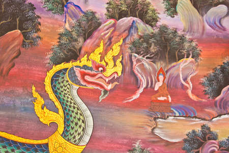 Colorful of thai art in temple wall painting Stock Photo - 12926261