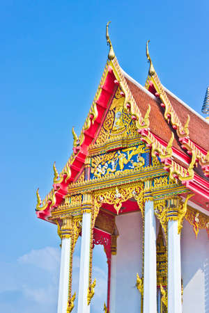 Thai art decoration in golden thai temple Stock Photo