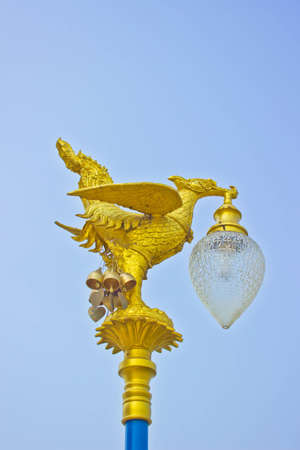 Thai Style Golden Swan Lamp with blue sky