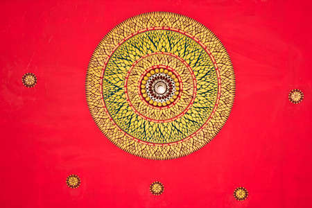 thai art decorating on thai temple ceiling