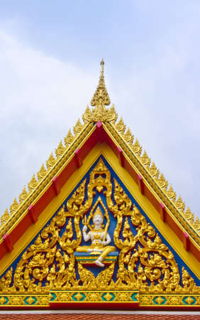 Thai art decoration on roof of thai temple