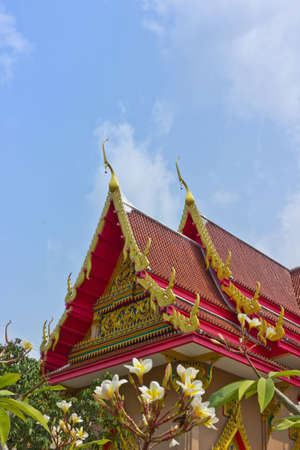 The temple decoration with thai art style