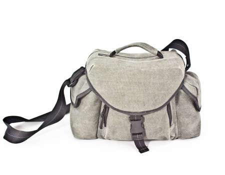 Gray camera bag isolated on white background