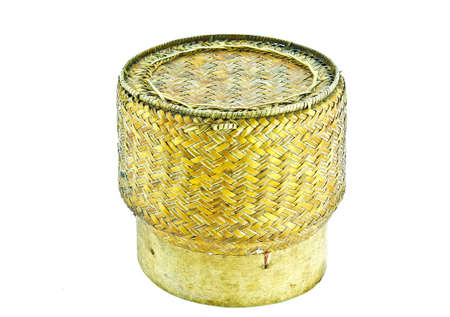 Basketwork with bamboo for keep sticky rice in Thailand Stock Photo