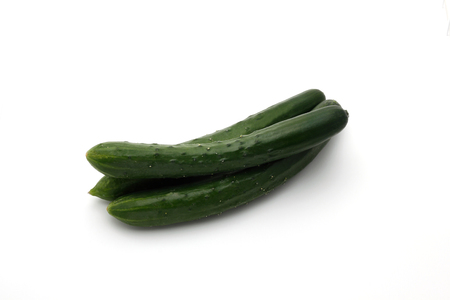 Fresh japanese cucumbers on white background, Imagens