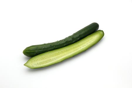 Fresh japanese cucumbers on white background, Stock fotó
