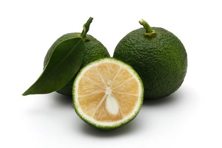 감귤류 유자 유자, 녹색 스톡 콘텐츠