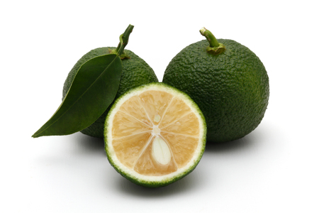 Citrus fruit yuzu citrus, green