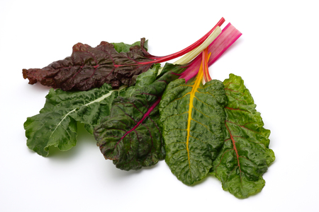 fresh swiss chard on a white background Stock Photo