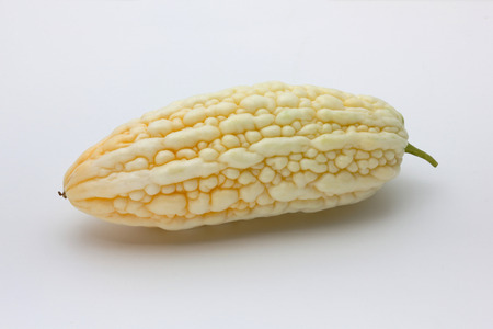 White Bitter melon, Bitter gourd fruit on white background Stock Photo
