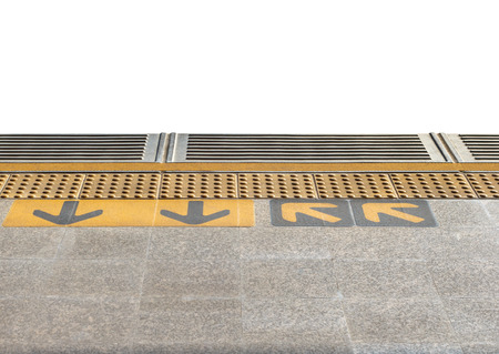 Close-up of train platform on isolated background  photo