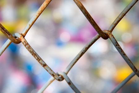 wire fence: Rusty steel wire mesh fence