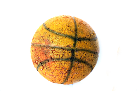 game over: old  basketball      on  white  background