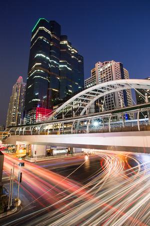public sky-walk at night in business zone Bangkok Thailand