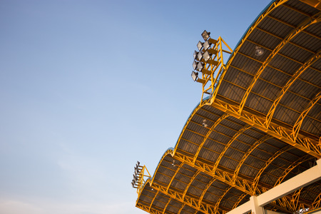 spotlight on the roof in the sport stadium