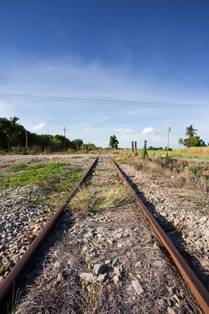 rail cross: train rail cross road with blue sky