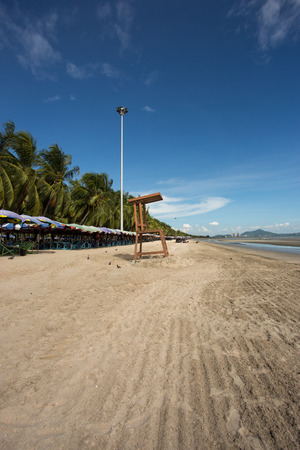 life guard chair at Bangsaen beach in Chonburi Thailand photo