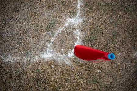 football corner flag in dry field photo