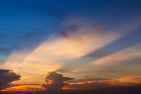 Strom: big strom cloud in sunset time Stock Photo