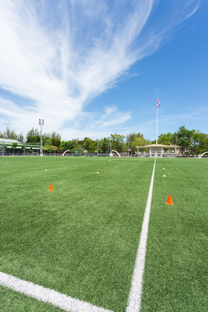 football stadium with clear sky in high school of Thailand Stock Photo