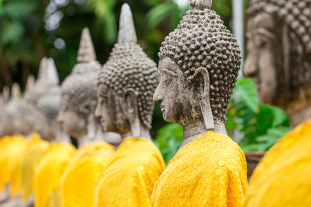 statue: Old buddha statue in buddha temple at Wat Yai Chaimongkol Ayuthaya Thailand