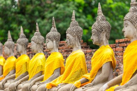 chinese buddha: Old buddha statue in buddha temple at Wat Yai Chaimongkol Ayuthaya Thailand