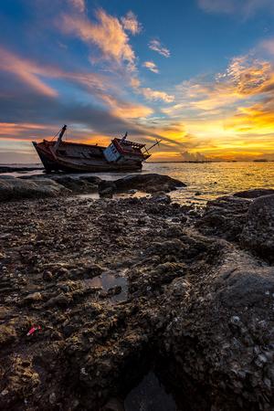 wreck: wreck fishing boat Stock Photo