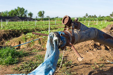 axial: Old axial pump in kale farm in the middle of Thailand