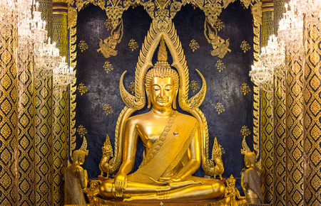 wat traimit: Phra Phuttha Chinnarat Buddha image as Pang man wichai looks gorgeous, which is the most beautiful golden buddha in temple Thailand