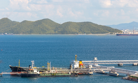 big ship in logistics and transportation of container and crude oil