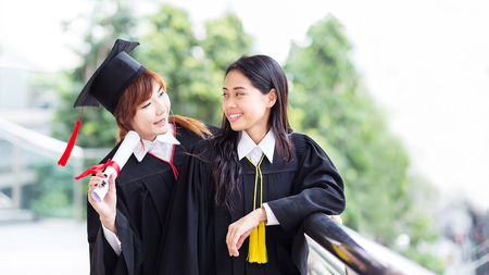 Education, Graduation concept of people or students, who happy after finish their degree