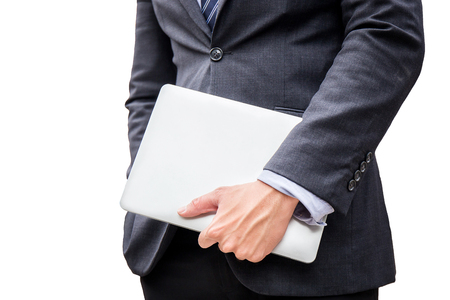 smart business man hold laptop, computer, for do his work in office on white background
