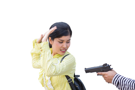 businesswoman back from working from business office is robbed for money by thief on white or isolate background, in a concept of rob, murder, safety in business and life
