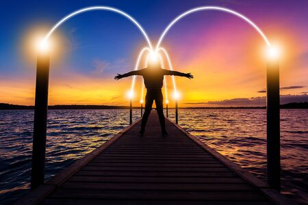 Happy, relax, successful woman thinking on bridge over sea water at sunset time with light of idea connection communication network