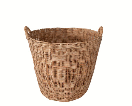 messy clothes: Clothes basket, On a white background Stock Photo