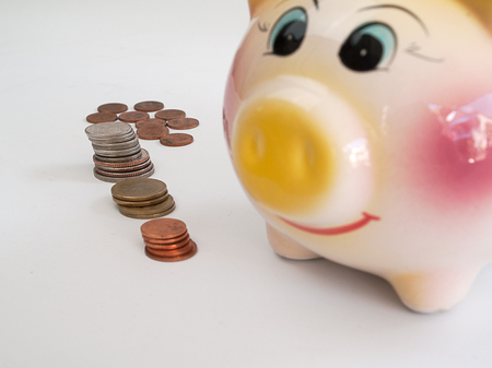 thrifty: collect money ,  Saving money with piggy pig
