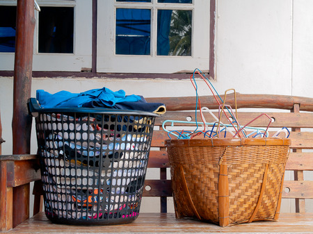 laundry concept: Baskets of clothes, The equipment used for cleaning. Stock Photo