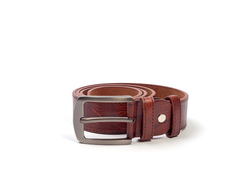 white colour: Brown leather belt , Clothing accessories Man