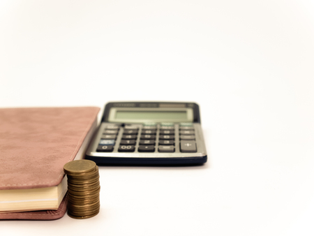chequera: Libro y calculadora, (Imagen de la vendimia)