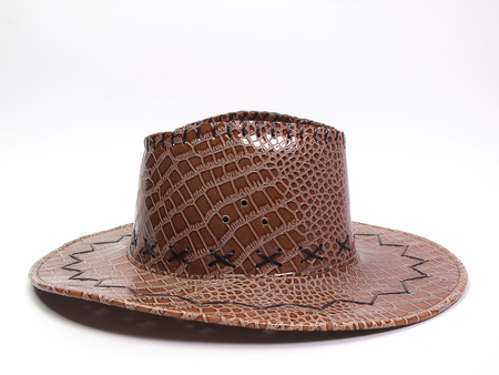 brown leather hat: Brown leather hat , on a white background