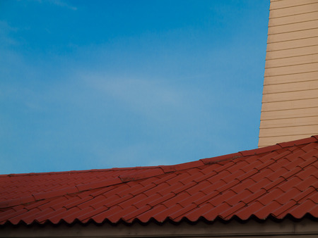 housetop: housetop,Image of An Old Roof from Terracotta Tiles.