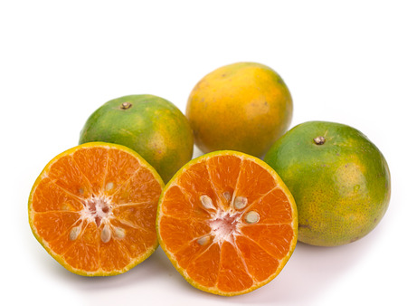 appetising: Group of fresh oranges , Placed on a white background.