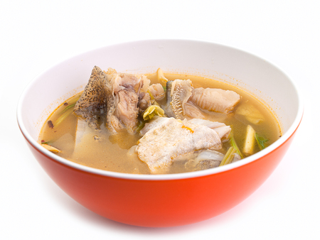 Spicy Fish soup ,hot soup ,Tom yum,Low calories food Stock Photo