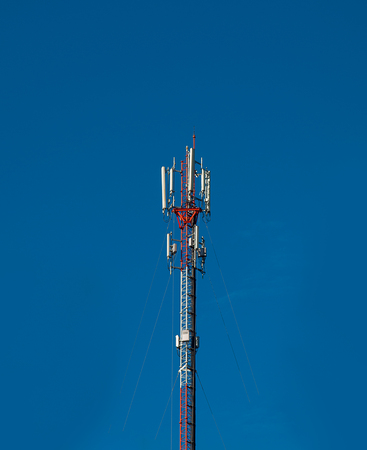 Telecommunication tower Antenna , with the sky background.