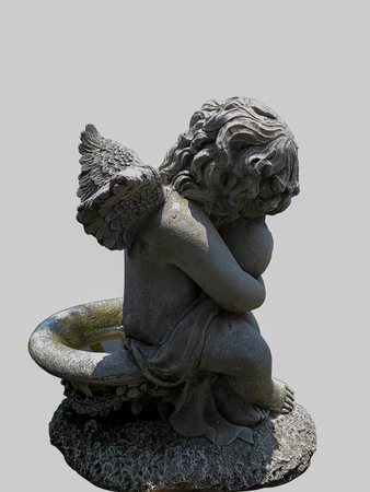 angels fountain: Cupid sculpture Beautiful statues On a white background. Stock Photo