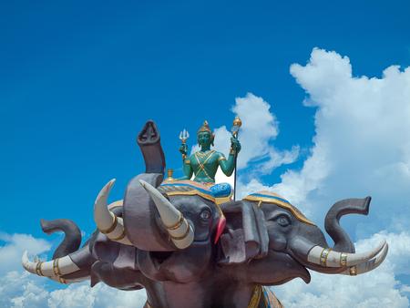 Indra on Erawan elephant in Wat Saman Rattanaram Chachoengsao province of thailand. (clipping path) Stock Photo