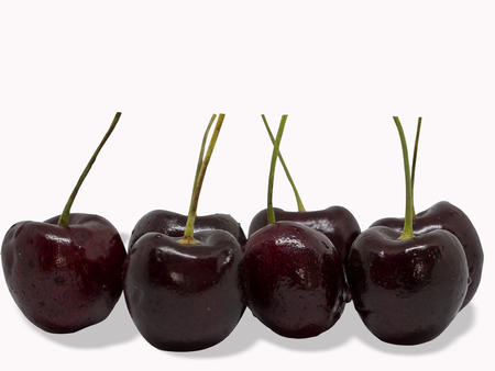 Cherry fruit isolated on white background. (clipping path) Stock Photo