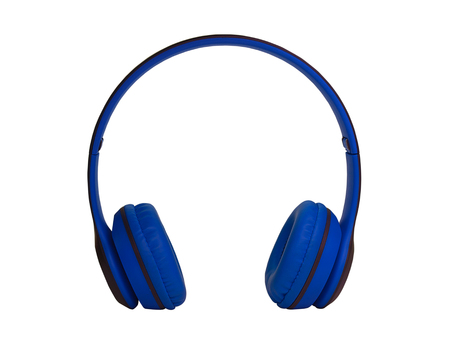 Blue Headphones Isolated on White Background. (clipping path) Stock Photo